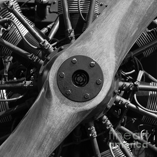 Vintage Wood Propeller - 7d15828 - Square - Black And White Print by Wingsdomain Art and Photography