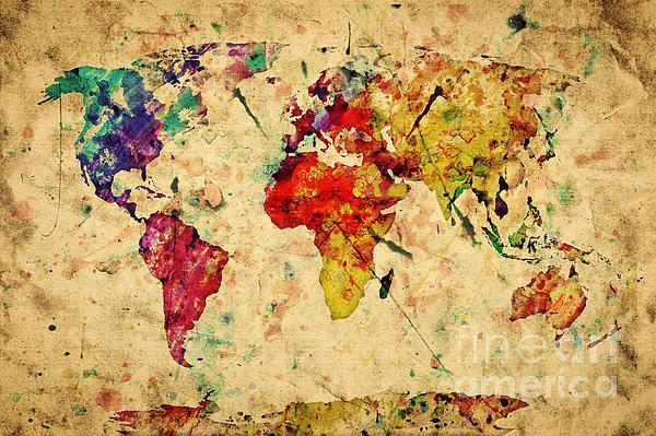 Vintage World Map Print by Michal Bednarek