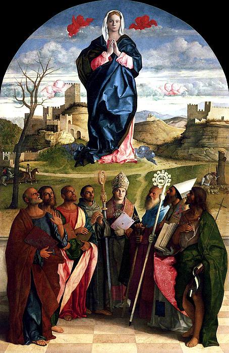 Virgin In Glory With Saints 1515 Giovanni Bellini Print by Karon Melillo DeVega