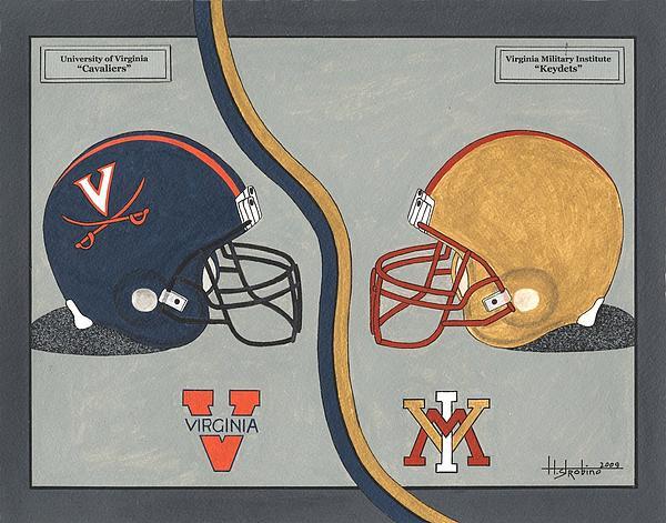 Virginia Cavaliers And Vmi Keydets Helmets Print by Herb Strobino