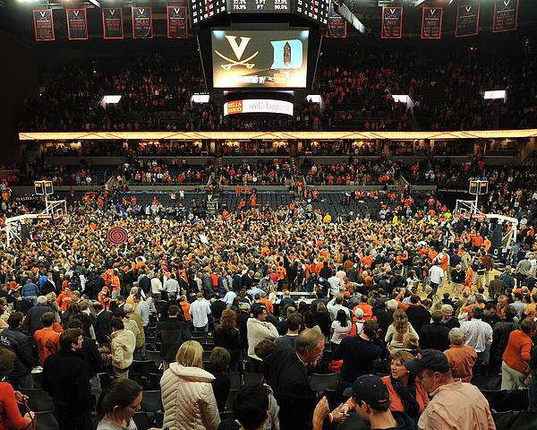 Virginia Fans Storm Court At John Paul Jones Arena Print by Replay Photos
