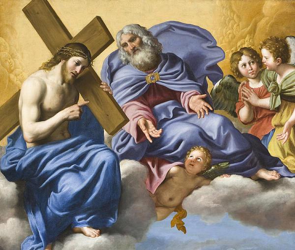 Vision Of Christ And God Detail Print by Domenico Zampieri
