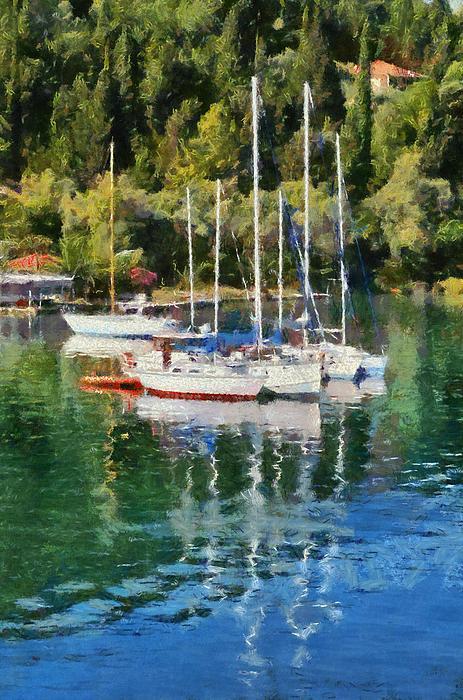 Vlychos Bay In Lefkada Island Print by George Atsametakis