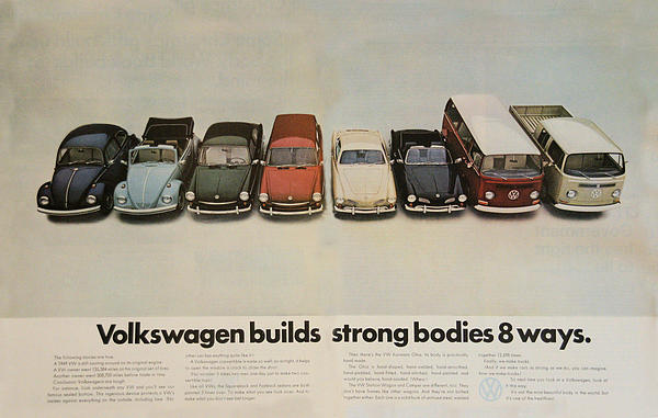 Volkswagen Body Facts Print by Nomad Art And  Design