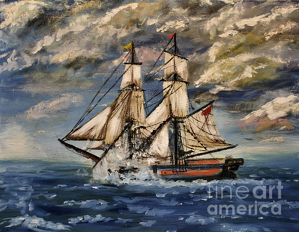 Voyage Of The Cloud Chaser Print by Isabella F Abbie Shores LstAngel Arts