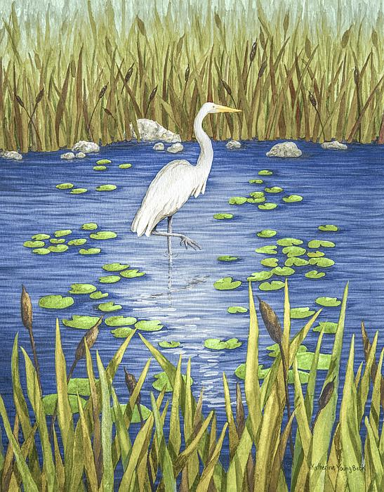 Wading And Watching Print by Katherine Young-Beck