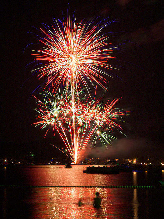 Wading View Of Fireworks Print by Mark Miller