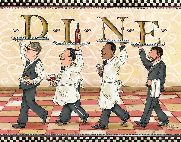Waiters Dine Print by Shari Warren
