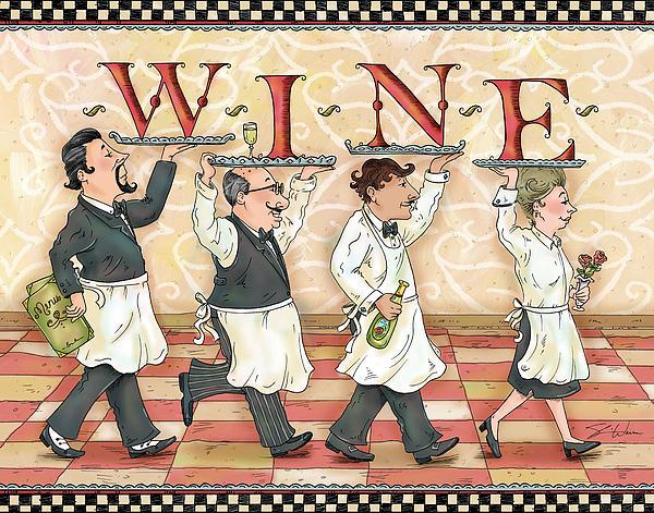 Waiters Wine Print by Shari Warren