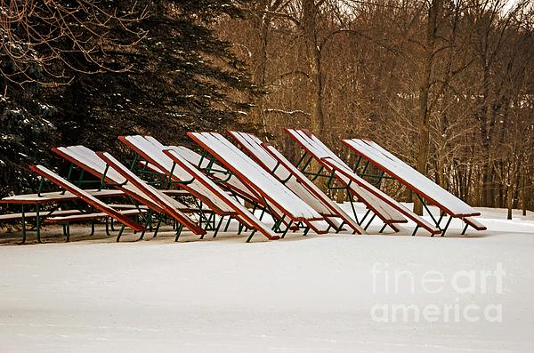 Waiting For Summer - Picnic Tables Print by Mary Machare