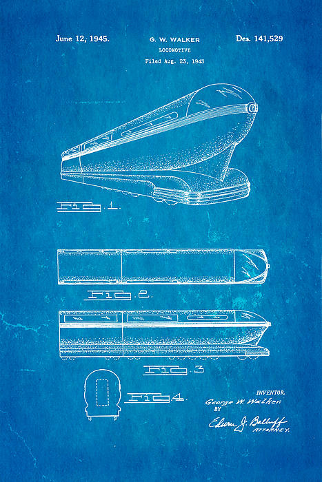Walker Train Locomotive Patent Art 1945 Blueprint Print by Ian Monk