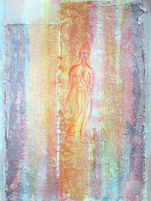Walking Buddha Print by Asha Carolyn Young