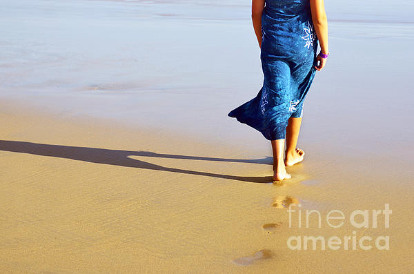 Walking On The Beach Print by Carlos Caetano
