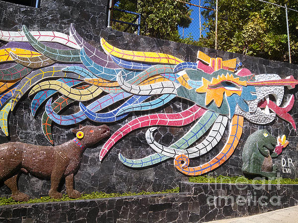 Wall mural in mosaic by diego rivera acapulco mexico by for Diego rivera ford mural