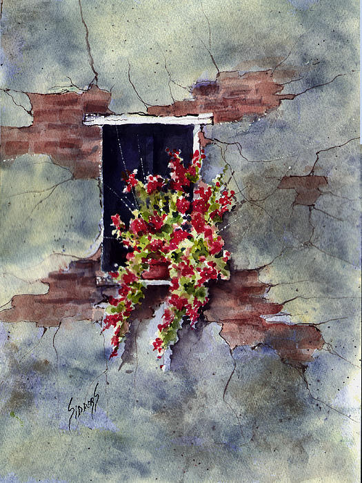 Wall With Red Flowers Print by Sam Sidders