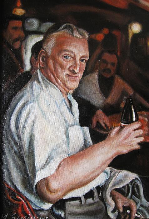 Walter At Eddies Bar Print by Melinda Saminski