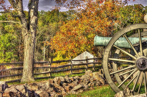 War Thunder - 3rd Massachusetts Light Artillery Battery C - J. Weikert Farm Autumn Gettysburg Print by Michael Mazaika