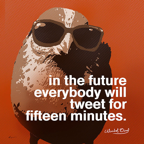 Warhol Bird Tweet For Fifteen Minutes Parody Print by Anthony Ross