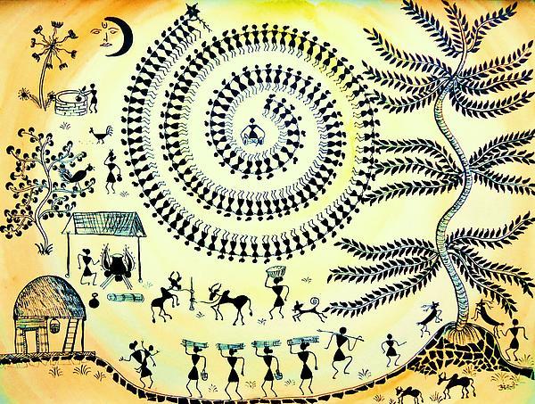 Warli Day Print by Anjali Vaidya
