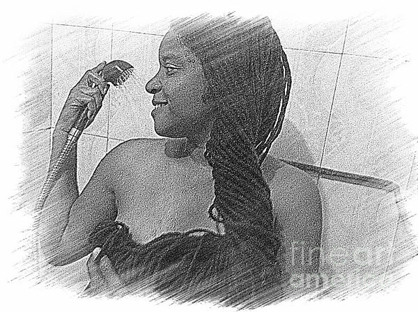 Washing All That Hair Print by Fania Simon