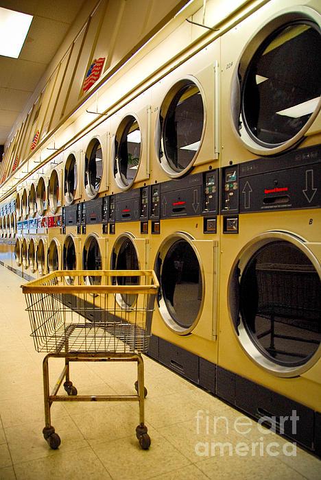 Washing Machines At Laundromat Print by Amy Cicconi
