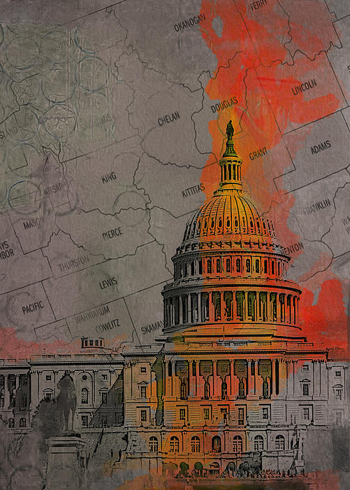 Washington City Collage Print by Corporate Art Task Force