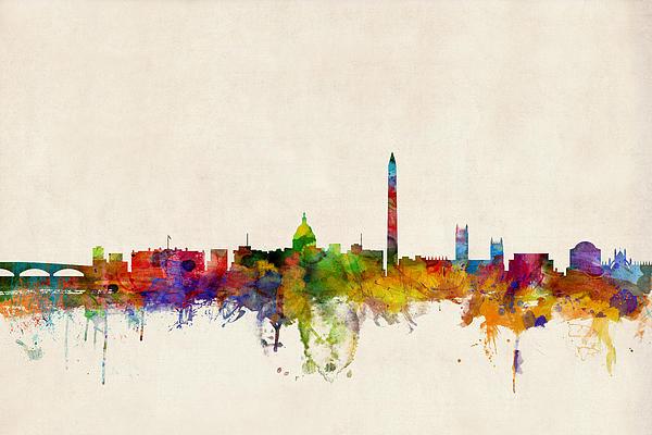 Washington Dc Skyline Print by Michael Tompsett
