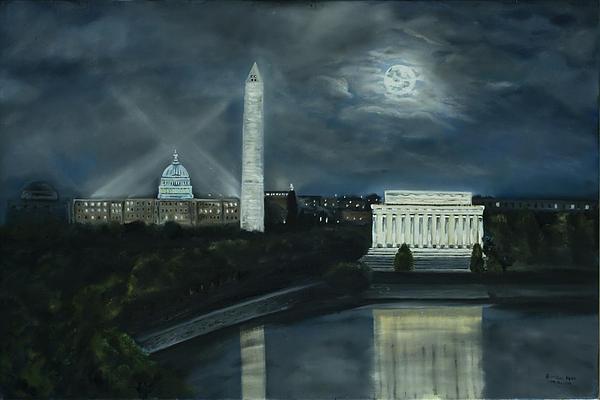 Washington Dc Under Moonlight Print by Brandon Hebb