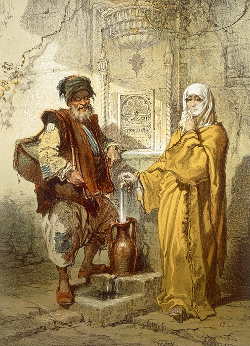Water-carrier, 1865 Print by Amadeo Preziosi