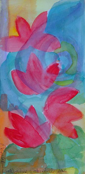 Water Lilies Water Swirls Version II Print by Claudia Smaletz