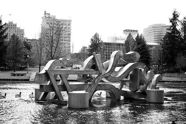 Water Sculpture In Spokane Print by Carol Groenen