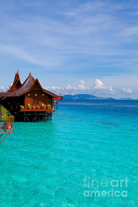 Water Village On Mabul Island Borneo Malaysia Print by Fototrav Print