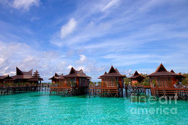 Water Village On Mabul Island Sipadan Borneo Malaysia Print by Fototrav Print