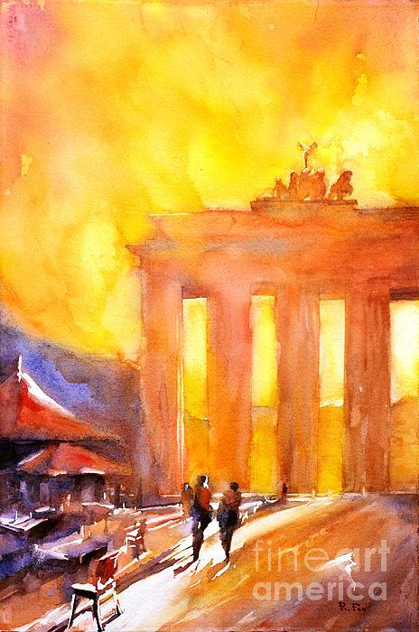 Watercolor Painting Of Brandenburg Gate Berlin Germany Print by Ryan Fox