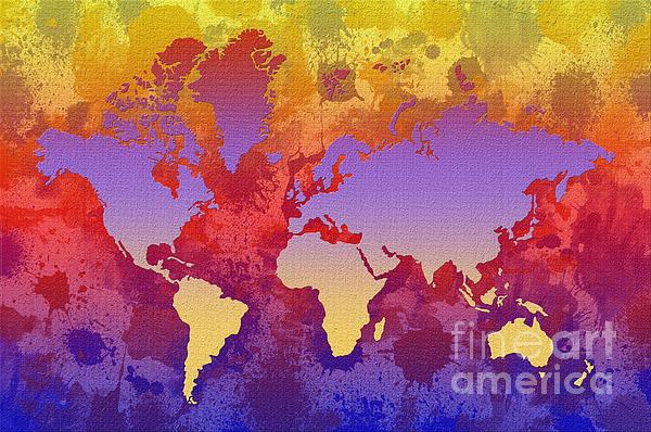 Watercolor Splashes World Map On Canvas Print by Zaira Dzhaubaeva