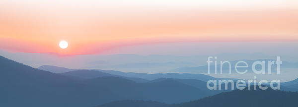 Watercolor Sunrise In The Blue Ridge Mountains Print by Jo Ann Tomaselli