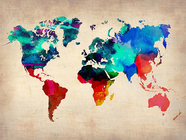 Watercolor World Map 3 Print by Naxart Studio