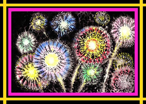 Watercolorful Fireworks Print by Irina Sztukowski