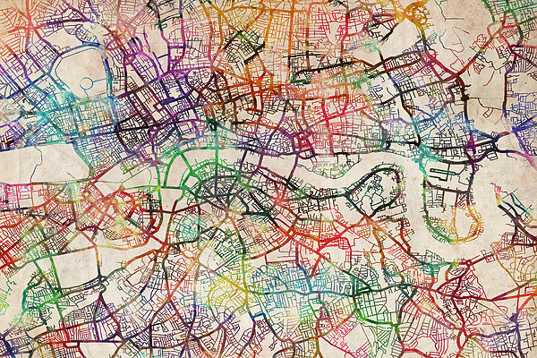 Watercolour Map Of London Print by Michael Tompsett