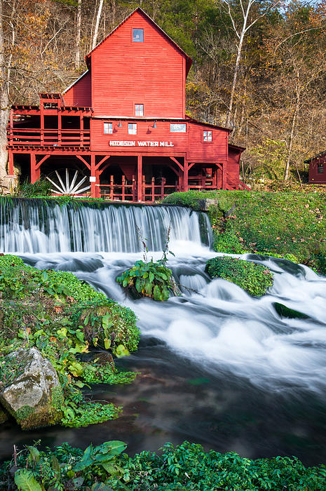 Waterfall And Hodgson Mill - Missouri Print by Gregory Ballos