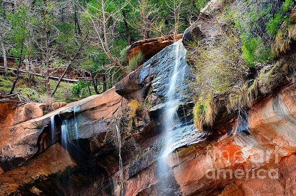 Waterfall At Emerald Pools In Zion Canyon Print by Rincon Road Photography
