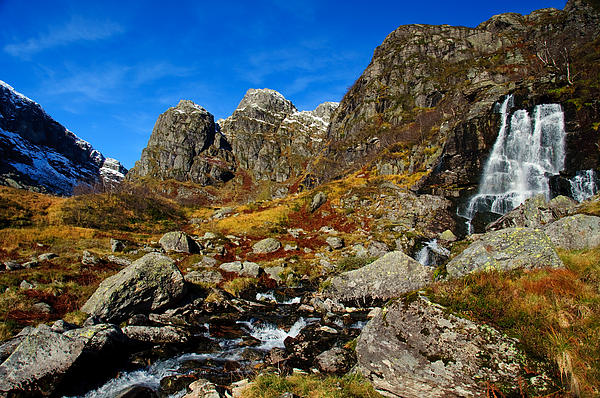 Waterfall In Autumn Mountains Print by Gry Thunes