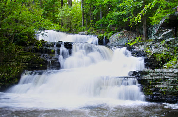Waterfall In The Pocono Mountains Print by Bill Cannon
