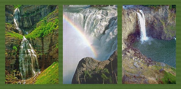 Waterfall Triptych Print by Steve Ohlsen