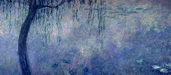 Waterlilies Two Weeping Willows Print by Claude Monet