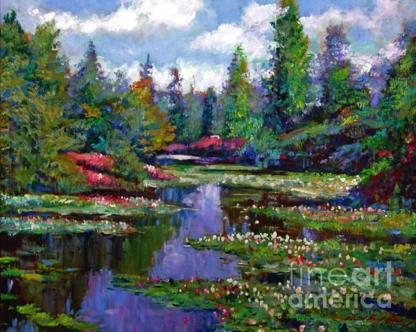 Waterlily Lake Reflections Print by David Lloyd Glover