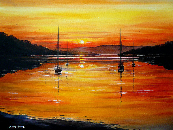 Watery Sunset At Bala Lake Print by Andrew Read