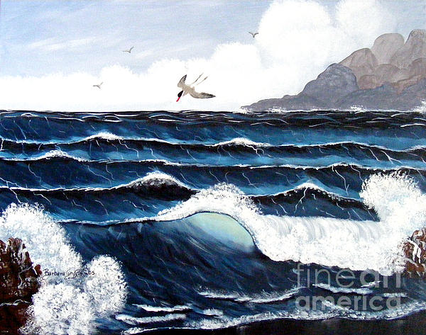 Waves And Tern Print by Barbara Griffin