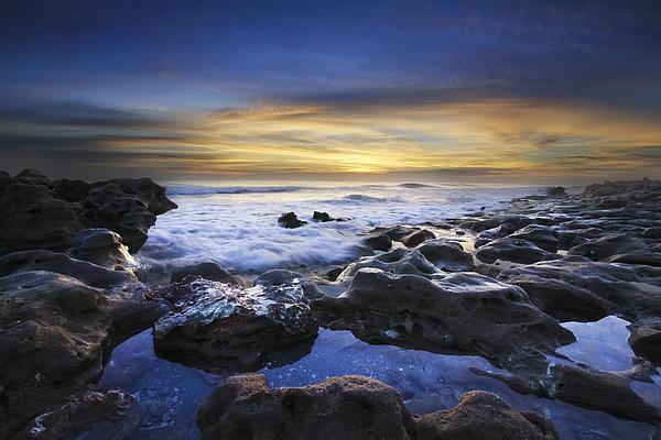 Waves At Coral Cove Beach Print by Debra and Dave Vanderlaan