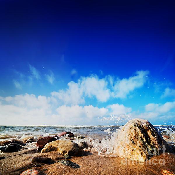 Waves Hiting Rocks On The Sunny Beach Print by Michal Bednarek